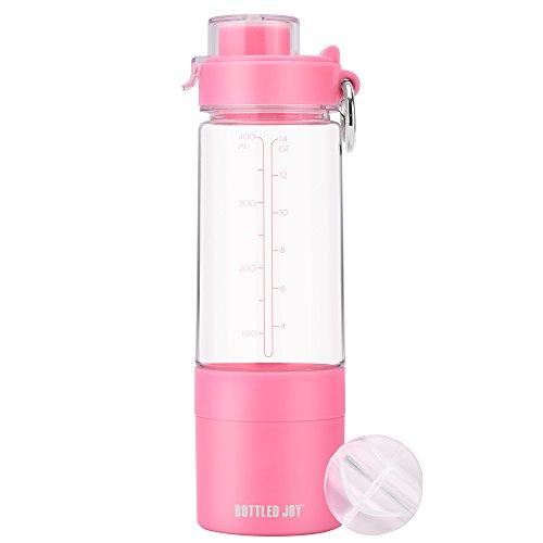 BOTTLED JOY Lady Sport Shaker Water Bottle, Protein Shaker Bottle with 2-Layer Twist and Lock Storage, 480ml 16oz Gym Bottle, 100% Leak Proof Mix Drink Bottle (Pink)