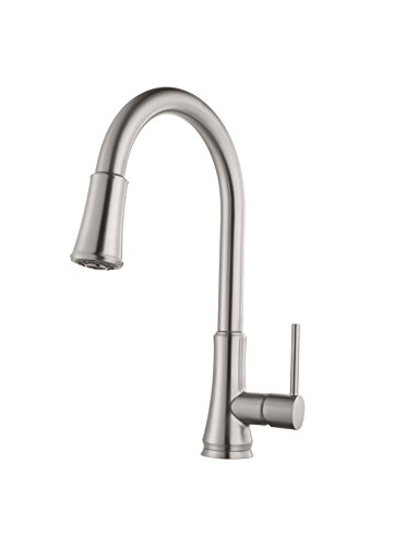 Pfister G529PF1S Pfirst Series Single Handle Pull-Down Kitchen Faucet In Stainless Steel, Water-Efficient Model Ashfield Two Hole Pull