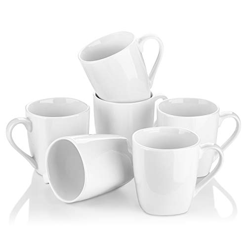 YHY 10 oz Porcelain Mugs, Rounded Square Mouth Mugs for Coffee, Tea, Set of 6, White (Coffee White Mug Classic)