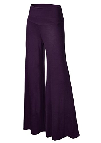 HaoMing Women Clothing HM Womens Comfy Wide Leg Palazzo Pants High Waist Lounge Pant Yoga Purple - Online Shopping India Eyewear