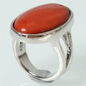 Stylish Red Oval Style Ring Size 8 Diameter 18.72mm