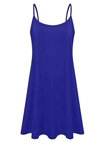7th Element Plus Size Women's Casual Spaghetti Loose Swing Slip Summer Dress Sundress (Royal Blue,4-XL) ()