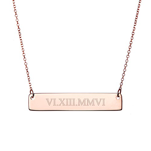 Rose Gold Plated Custom Roman Numeral Bar Necklace (16 inches) (Necklace Date Rose)