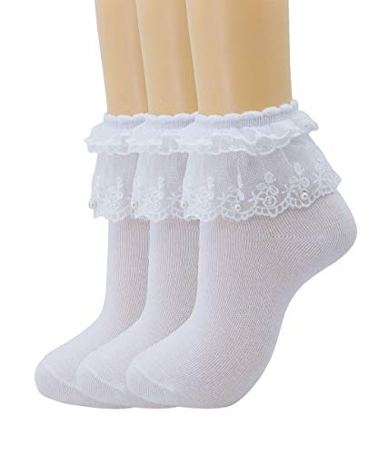 (Women Lace Ruffle Frilly Ankle Socks Fashion Ladies Girl Princess H06 (3 pairs-White))
