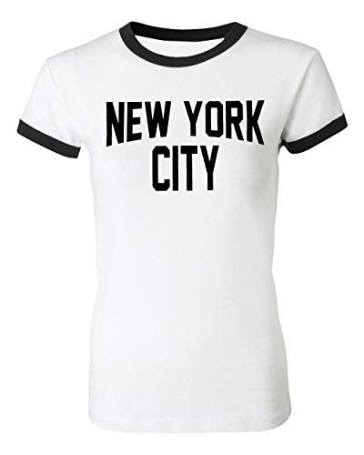 Ladies New York City John Lennon T-Shirt Ringer Womens Tee White (Large) ()