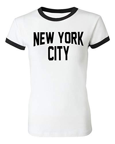 Ladies New York City John Lennon T-Shirt Ringer Womens Tee White (Small)