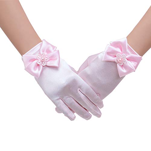 Tandi Girls Gorgeous Satin Fancy Gloves for Special Occasion Dress Formal Wedding Pageant Party -