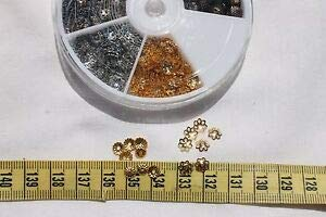 (Bead Cap Filigree 2 design's 5mm & 6mm Ant.Bronzen,Golden & Platinum Spacer Beads and Roll Crystal String for Bracelets Jewelry Making)