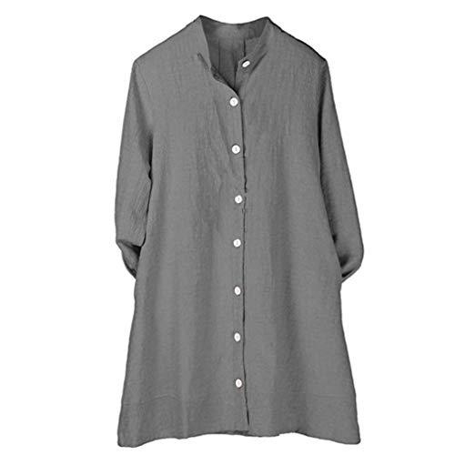 Bouton Lin Tunique Gris Cardigan Longues DEELIN Top Coton Automne Manches Blouse Longue Pure Femmes xvYgwa