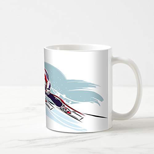 (Ahawoso Coffee Tea Mug 11 Ounces Competition Alpine Downhill Skier Sports Recreation Sport Ski Championship Extreme Helmet Hill 11Oz Ceramic Tea Cups Gift Great Boss Coworker Friend)