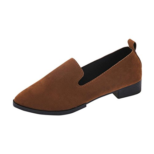 Office Ladies Single Shoes,❤️ Toponly Womens Slip On Flat Loafer Shoes Casual Solid Pointed Toe Ballet Shoes (US:7, Brown)