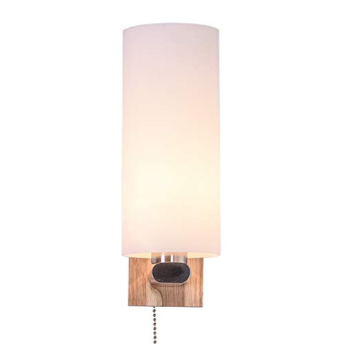 INJUICY Wood Wall Lamp, Industrial E27 Sconces with Glass Shade for Living Room, Bedrooms, Indoor Bedside Decoration