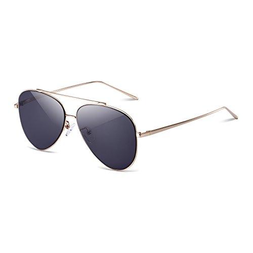 D+D Fashion Aviator Sunglasses Metal Frame Black Flat Lens 100%UV - Lens Sunglasses Aviator Flat
