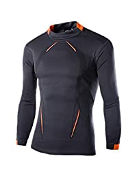 Jomuhoy Men Swimwear Long Sleeve Protection Quick-Dry Rash-Guard-Shirt