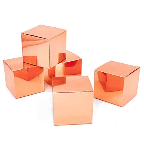 (JUICY MOOM Rose Gold Party Favors Candy Treat Boxes Wedding Bachelorette Engagement Bridal Shower Party Baby Shower Birthday Party Favors Boxes Small Christmas Gift Boxes Supplies 50pc)
