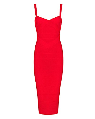 Whoinshop Women's Rayon Strap Celebrity Midi Evening Party Bandage Dress Red L ()