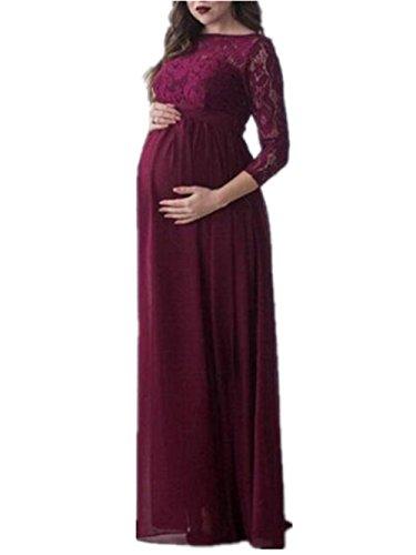 Maxi Donna Tayaho Lunga Red Vestito Gravidanza Bonitas Dress Vestiti Abito Prémaman Pizzo Sera Femminili Da Eleganti Abiti Giuntura Manica Allacciatura dqrrf4tx