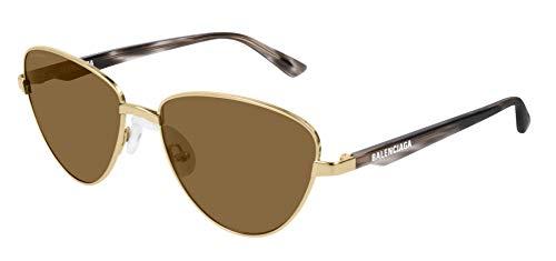 Balenciaga BB0011S Sunglasses 002 Gold-Havana/Brown Lens 57 mm