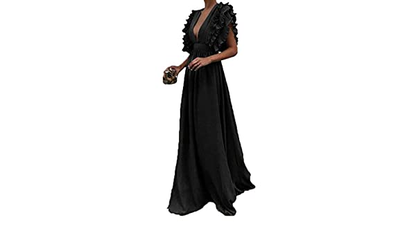 Mstyle Women Solid Backless Deep V Neck Pure Color Elegant Cocktail Party Club Maxi Dress