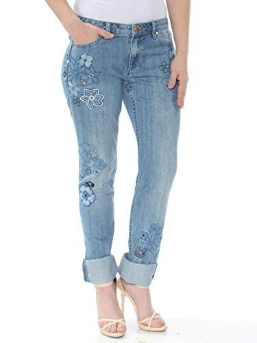 (Michael Michael Kors Embroidered Straight-Leg Jeans in Regular & Petite Sizes (Blue, 4))