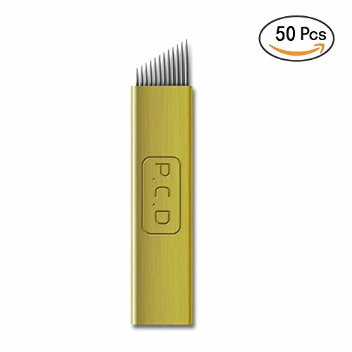 Microblading Needles - Yuelong 50pcs Microblading Blades Permanent Makeup Manual Eyebrow Tattoo Needles 14 PCD Sloped Needles for Microblading Supplies,Microblading Pen,Microblading Kits by Yuelong