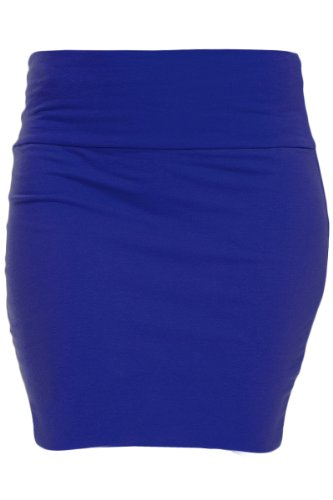 KMystic Basic Mini Skirt with Wide Waist Band (Medium, Royal Blue)