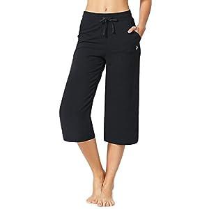 Baleaf Women's Active Yoga Lounge Capri Pants With Pockets Black Size XXL
