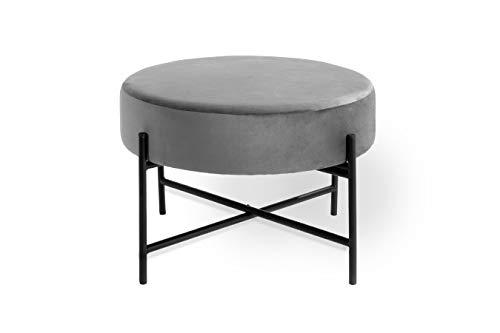 LIFA LIVING Pouf Gris Velours et Metal, Tabouret Rond Design, Repose Pied Moderne, Table Basse pour Chambre Salon, 55 x 55 x 35 cm