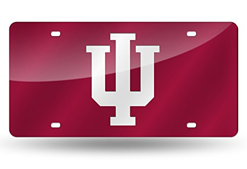 Metal Hoosiers Indiana (Rico Industries NCAA Indiana Hoosiers Laser Inlaid Metal License Plate Tag, Red, 6