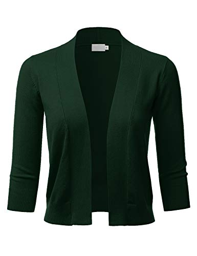 LALABEE Women's Classic 3/4 Sleeve Open Front Cropped Bolero Cardigan-Olive-M