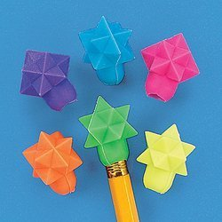 STARSHAPED ERASER PENCIL TOPPERS (144 PIECES) - BULK