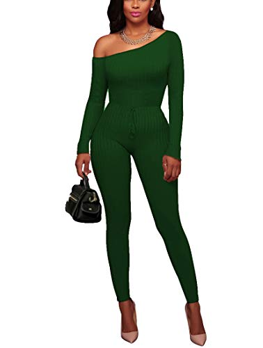 3c90ede2a39 Chic-Lover Women s Sexy Long Sleeve Off Shoulder Drawstring Bodycon  Jumpsuits Rompers (2XL