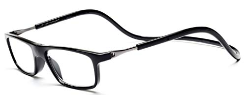 Adjustable Front Connect Reader Hang Neck Click Magnetic Reading Glasses Black03 150