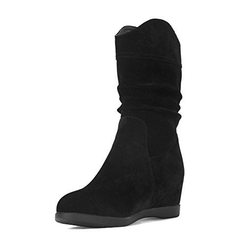 AllhqFashion Mujeres Sin cordones Mini Tacón Sólido Puntera Redonda Botas Negro