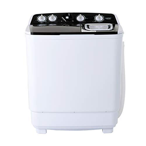KUPPET Compact Twin Tub Portable Mini Washing Machine 21lbs Capacity, Washer(13lbs)&Spiner(8lbs)/Semi-Automatic  (black)