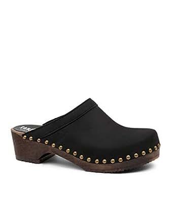 Sandgrens Swedish Low Heel Wooden Clog Mules for Women | Athens Black, EU 35