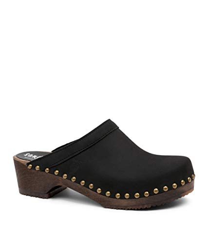 Sandgrens Swedish Low Heel Wooden Clog Mules for Women | Athens Black DK, EU 39