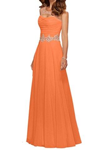 Langes Wassermelon Chiffon Abendkleider Bodenlang Partykleider mia Brautmutterkleider A Linie La Ballkleider Orange Braut TwE4pI