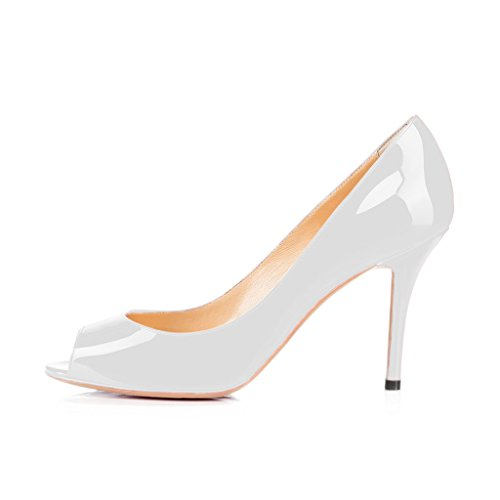 Formal White Flattering FSJ Dress US Size Patent 15 Peep Women Heels Toe Shoes High Pumps Glossy 4 1a51wqIWF