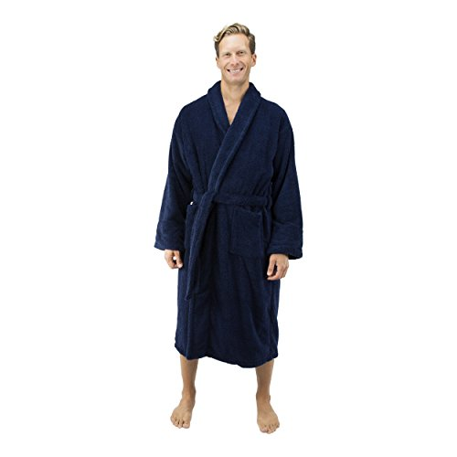 Comfy Robes Men's Deluxe 20 oz. Turkish Terry Bathrobe, L/XL (OSFM) Navy by Comfy Robes