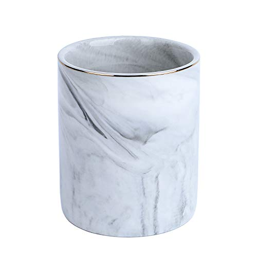 YOSCO Ceramic Round Desk Pen Holder Stand Marble Pattern Pencil Cup Pot Desk Organizer Makeup Brush Holder - Marble Pen Stand