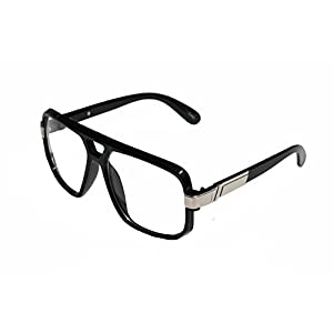 VW Eyewear - Classic Square Frame Plastic Flat Top Aviator Glasses /w Metal Trimming and Clear Lens (Gloss Black Silver)