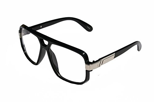 VW Eyewear - Classic Square Frame Plastic Flat Top Aviator Glasses /w Metal Trimming and Clear Lens (Gloss Black - Glasses Run Dmc