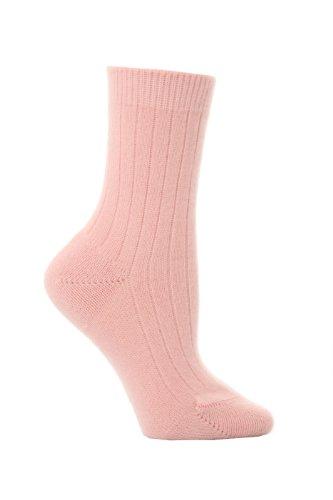 Pantherella Women's 1 Pair 85% Cashmere Rib Anklet 6-10 Pink