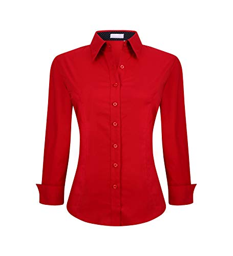 YCOOL Womens Button Down Shirts Long Sleeve Regular Fit Cotton Casual Blouse Top Red M