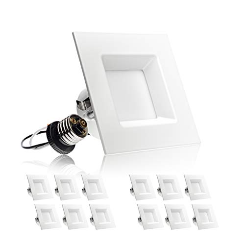 Retrofit Replacement - Parmida (12 Pack) 4 inch Dimmable LED Retrofit Recessed Downlight, 10W (60W Replacement), Square Trim, 4000K (Cool White), 630LM, Energy Star & ETL, LED Ceiling Can Light Fixture