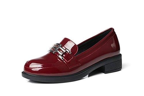 Grandes Primavera Mujer y Americana Otoño de Claret Zapatos Zapatos y de el la Europea Estudiante de de Tacón Pintura Zapatos Astilleros la vwqvS