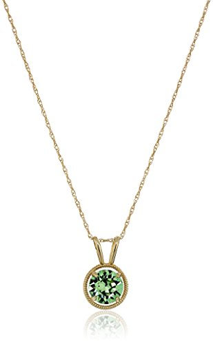 Gold Filled and 10K Gold Swarovski Birthstone August Pendant Necklace, 18""