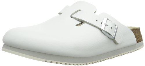 Birkenstock Donna Boston Da Zoccoli In Pelle Bianca