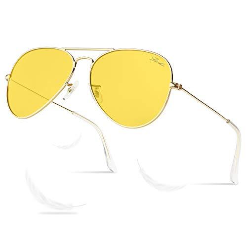 LIVHO Photochromic Classic Aviator Sunglasses for Women Men Polarized,Metal Frame Mirror UV Lens Protection(Gold Night View, ()